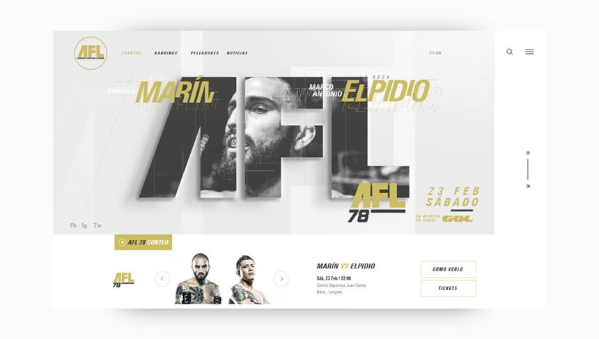 Diseño web artes marciales mma kickboxing fullcontact ufc afl
